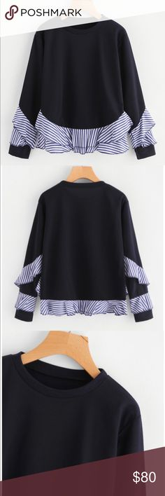 Sweatshirt Sweatshirt with white/blue striped ruffled hem and some ruffles on the sleeves.  Measurements: Shoulder: S:41cm, M:42cm, L:43cm, XL:44cm Bust: S:90-100cm, M:94-104cm, L:98-108cm, XL:102-112cm Sleeve Length: S:52cm, M:53cm, L:54cm, XL:55cm Length: S:58cm, M:59cm, L:60cm, XL:61cm Tops Sweatshirts & Hoodies