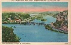 Harper's Ferry West Virginia WV, Two Rivers Bridge - Old Vintage Linen Postcard