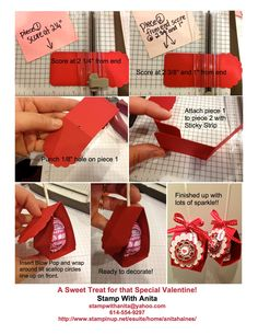 Sweet Treat Valentine Tutorial.    (Uses 2 pieces cut from the SU! Two Tags Die, Silver & Red Glimmer Paper, Designer Builder Brads, Itty Bitties Stamp Set) https://www.facebook.com/photo.php?fbid=10151327310321598=a.301256656597.146314.283168521597=3