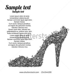 Black high heel shoes with flowers. Dress shoes, floral  pattern. Isolated on a white background - vector