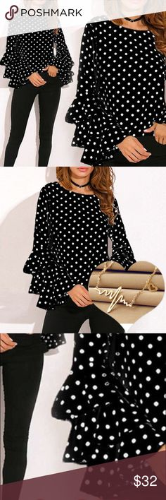 ⛔️ COMING SOON⛔️ Black polka dot ruffle blouse XS Product information:    Season:Autumn,Winter    Gender:Women    Occasion:Daily,Casual,Sport    Material:Cotton Blend    Pattern Type:Dots    Style:Casual    Sleeve length:Long Sleeve    Collar:O-Neck    Fit:Fits ture to size    Thickness:Standard    How to wash:Hand wash Cold,Hang or Line Dry    What you get:1*Women Shirt Tops Blouses