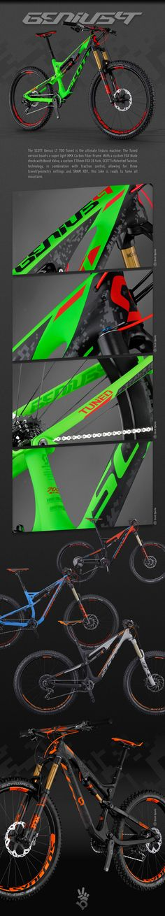 2015 Scott bike graphics. Design of the frame graphics as well as work with the manufacturer directly to ensure color consistency and print production methods. Component graphics and color design.