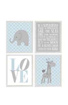 Nursery Art Elephant Giraffe Quatrefoil Nursery Prints Gray Blue Baby Boy  Wall Art  Love Baby Nursery Decor Playroom Rules Quote - 4 8x10