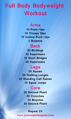 Full Body Bodyweight Workout... I would add a wall sit, plank shoulder taps, and plank up downs