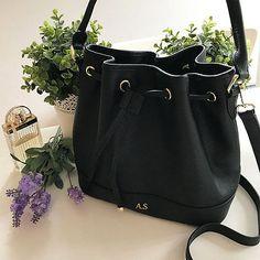 PERSONALISED-MONOGRAMMED-Genuine-Leather-Women-039-s-Bucket-Bag-Handbag-Black