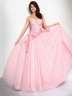 Ball Gown Pink Strapless Sweetheart Drape Beaded Prom Dress With Rosette