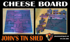 Custom Puzzle Cheese Board Tin Shed, Custom Woodworking, Puzzle, Cheese, Board, Gifts, Puzzles, Presents, Riddles