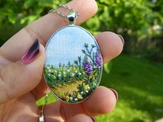 Embroidery necklace Landscape pendant by EmbroideredJewerly