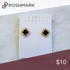 Ariella Earrings Ariella Arabesque Shape Earrings in black with crystal and gold accents   New, never worn. Ariella Jewelry Earrings