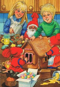 fete noel vintage gifs images - Page 7 Very Merry Christmas, Christmas Cards, Illustrations And Posters, Scandinavian, December, Photos, Fantasy, Artist, Gingerbread Houses