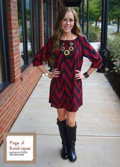 Garnet & Black Chevron Dress, $58 (sizes S-L)