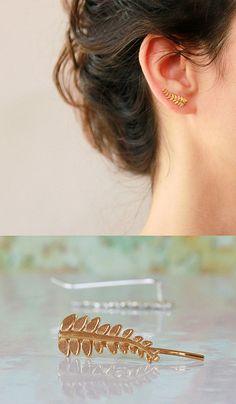 Hojas de oído brazalete, trepador de la oreja, pendientes novia, pendientes novia, plata y aretes de oro, chaqueta de oído