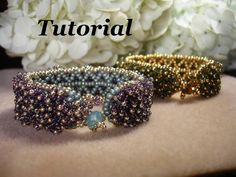 Tutorial for Dew Drop Confetti Cuff Bracelet by PeregrineBeader,