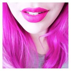 One of the best aspects of the Manic Panic brand is that we don't just sell hair dye; we also sell cosmetics to match! With 40+ hair colors and 40+ lipsticks, you'll have no trouble finding the duo of your dreams! @leahinlalaland is exploding with pink passion in this pic, matching her Hot Hot Pink hair to her pretty fuchsia pout. If you use HHP, too, and want a lipcolor that goes perfectly with it, look no further than our Lethal Lipstick in Blue Valentine.