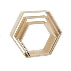 3 étagères hexagonales - 25, 30 et 35 cm