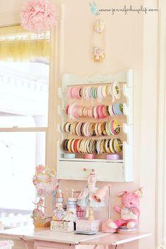 My Eye Candy Pastel Art Heaven Studio » My blog gun rack turned ribbon holder!