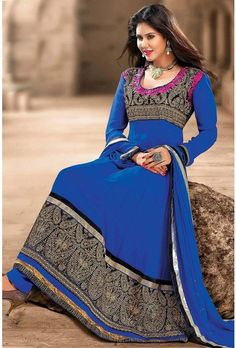 Blue Chiffon Anarkali Suits Comes With A Matching Dupatta