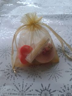 Gift bag with Lip balm, cupcake soap and heart candle www.ohorganics.co.uk