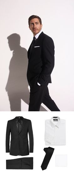 Recreate the style of Jake Gyllenhaal with this budget breakdown of him in a classic black suit, black tie and white pocket square. Black Suits, Black Tie, White Pocket Square, Jake Gyllenhaal, Men Style Tips, Suit And Tie, Tie Dress, Men Looks, Perfect Man