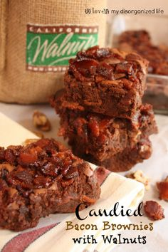 Candied Bacon Brownies with Walnuts - {i love} my disorganized life