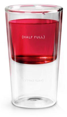 Half full optimistic glass.