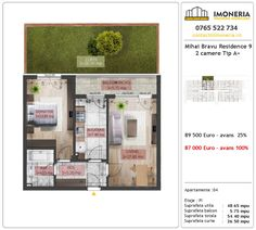Apartamente de vanzare Mihai Bravu Residence 9 -2 camere tip A + Floor Plans, Floor Plan Drawing, House Floor Plans