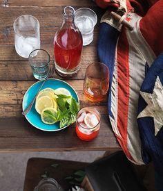 Australian Gourmet Traveller summer drink recipe for lemon and raspberry iced tea.