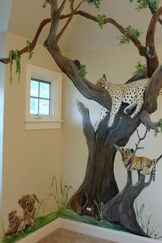 Safari Animal Nursery - Jungle Mural - My best shares Animal Bedroom, Jungle Bedroom, Jungle Nursery, Woodland Nursery Decor, Animal Nursery, Nursery Room, Nursery Murals, Monkey Nursery, Safari Room