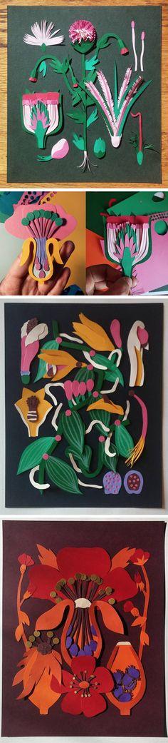 Click for more pics! | Botanical Studies Through Colorful Cut Paper Illustrations by Niege Borges #paperart #illustration #plants