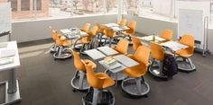 These desks are made by Steelcase, a Michigan company. I want them in my classroom NOW. It's called the Node chair and facilitates reconfiguring seating arrangements easily!