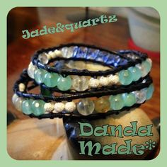 Jade & quartz wrap leather bracelet By Danda Made Jewls www.facebook.com/dandamade