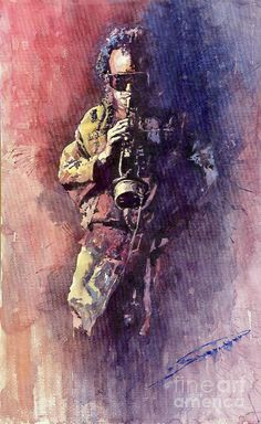 """Yuriy Shevchuk, """"Miles Davis Meditation"""" - Born in 1961 in Kiev, Ukraine, Yuri Shevchuk attended the Kiev Art School and the prestigious Kiev Architectural Academy. Yuriy has recorded his own experiences in his artworks: his three passions, painting, jazz and historical cars have become the focus of his paintings. Bewitched with jazz music he skillfully and rapidly sketches the cool and charming figures of musicians in action, showing the positive mood and spiritual intensity of jazz."""