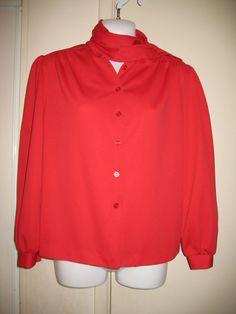 Graff Petites Womens Vintage Red Scarf Collar Button-Down Blouse, Size 10 #GraffPetites #ButtonDownShirt