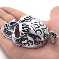"""24"""" KONOV Jewelry Tribal Biker Mens Stainless Steel Necklace Gothic Heavy Biker Skull Pendant - Silver Black, 24 inch Chain KONOV Jewelry. $19.99. Pendant Height: 3.35""""(8.5cm) Width: 1.93""""(4.9cm). Color: Silver & Black; Material: Stainless Steel. Pendant arrives with one quality stainless steel chain.. Chain Length: 18"""" 20"""" 22"""" 24"""" or 26"""" Width: 3mm. Save 75% Off!"""