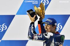 Jorge Lorenzo (Movistar Yamaha MotoGP) got his 2016 MotoGP campaign off to the ideal start by winning the season's opener in Qatar. The defending champion was chased over the line by Andrea Dovizioso (Ducati) and Marc Marquez (Team Honda Repsol) who made it three different makes on the podium.   Lorenzo's perfect weekend also saw him claim pole position and the fastest race lap: 1m54.927s, a new track record. #michelin #motoGP