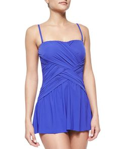 Flutter Lattice-Wrap Swim Dress by Gottex at Neiman Marcus.