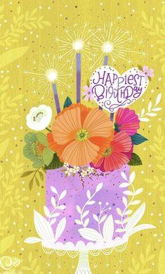 Happy Birthday Wishes Images, Happy Birthday Flower, Happy Birthday Pictures, Happy 2nd Birthday, Happy Birthday Greetings, Birthday Greeting Cards, Happy Birthday Artist, Happy Birthday Illustration, Birthday Blessings