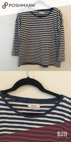Madewell Cotton Striped Top Size L Cute blue and white 3/4 sleeve cotton top from Madewell 💙 Madewell Tops