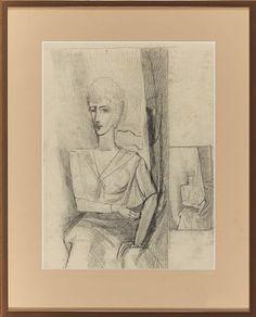 "PER KROHG AASGAARDSTRAND 1889 - OSLO 1965  Jacqueline, ca 1929 Blyant på papir, 33x25 cm (L) Usignert Påført bak på rammens bakplate: ""Denne tegning av Per Krohg etter modellen Jacqueline er fra omkring 1929, Guy Krohg"" Sculptures, Fine Art, Prints, Photography, Painting, Photograph, Fotografie, Painting Art, Photoshoot"