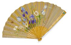 A wood fan with jewelled gold mounts, St Petersburg, circa 1890, the guards and sticks of burl maple, applied with a turquoise flower with rose-cut diamond-set stem, the silk leaf painted with irises, convolvulus and a dragonfly. Provenance: Christie's South Kensington, 7 December 1999, lot 22, sold with a box, now lost, inscribed 'for Princess Henry', presumably Princess Alice, Duchess of Gloucester.