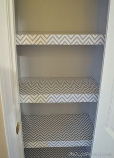 Bathroom Closet Shelving Ideas $100 room makeover: wrapping paper lined foam board shelves