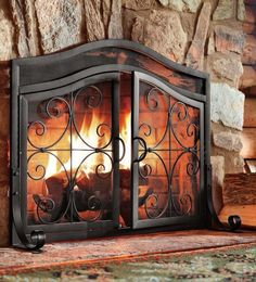 Fireplace Screen Door Black Fire Small Guard Wrought Iron Ornamental Scroll  #PlowHearth #TuscanModernTraditionalTransitional