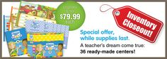 Reading comprehension, language, and math center kits are on sale, while supplies last. Only $79.99 each. Available for grades 1–3.