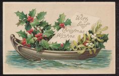 Pretty Canoe Boat with Holly Antique Christmas Postcard ZZ828 | eBay