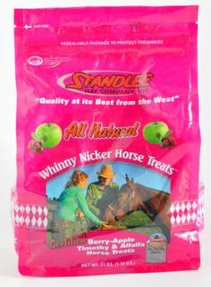 Standlee Hay Company Whinny Nicker Apple Berry Horse Treat, 3-Pound by Standlee Hay Company. $15.14. All Natural. No Chemicals Added. Certified Noxious Weed Free. The Standlee Hay Company's Horse Treats are made from real human grade berries, timothy and alfalfa forages. This product is all natural. Your horse will nicker at the fresh, delicious smell of real berries as soon as you open the bag. Whinny Nicker Treats are specially packaged to stay fresh long after openi...