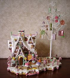 Lighted Gingerbread House & Tree Candy Ornaments Rare Christmas Village Building
