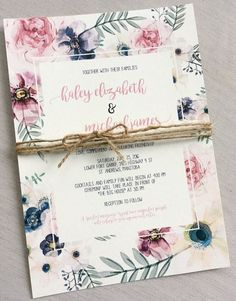 Elegant Modern Floral Wedding Invitation, Rustic Wedding Invitation, Modern Wedding Invitation, Rustic Boho Chic Wedding Invitation