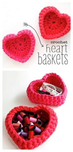 Crochet Heart Shaped Storage Baskets Free Pattern and Photo Tutorial