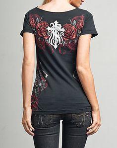 Rebel Saints AFFLICTION Women T-Shirt PISTOLA Rhinestone Gun Biker Sinful XL $40