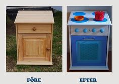 Kids play kitchen made of repurposed bedside table Kids Toy Kitchen, Diy Play Kitchen, Repurposed Items, Repurposed Furniture, Art Deco Furniture, Kids Furniture, Cheap Furniture, Playhouse Interior, Diy Karton